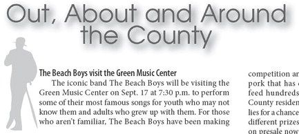The Beach Boys visit the Green Music Center Burningham returns to Sonoma Kids Night at the Schulz MuseumSonoma County Art Trails opens studios Sonoma Arts Live returns to in-person theater Party for the Green, New Orleans-style Santa Rosa Symphony offers virtual subscription